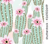 cactus with pink flowers on the ... | Shutterstock .eps vector #416502649