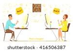 business deal. videocall   call ... | Shutterstock .eps vector #416506387