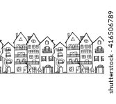 old european houses black lines | Shutterstock . vector #416506789