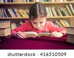 small girl in old library... | Shutterstock . vector #416510509
