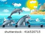 cartoon background of a sea... | Shutterstock . vector #416520715