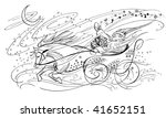santa claus in horse drawn... | Shutterstock . vector #41652151