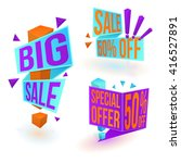 collection of bright sale... | Shutterstock .eps vector #416527891