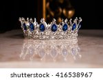 royal crown with sapphires ... | Shutterstock . vector #416538967