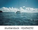 sailboat on the water - stock photo