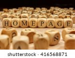 homepage word written on wood... | Shutterstock . vector #416568871