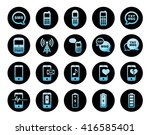 cell phone icons blue glass... | Shutterstock . vector #416585401