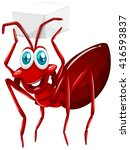 red ant holding cube of sugar... | Shutterstock .eps vector #416593837