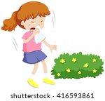 girl having allergy from pollen ... | Shutterstock .eps vector #416593861