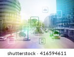 smart city and vehicles ... | Shutterstock . vector #416594611