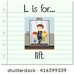 flashcard letter l is for lift... | Shutterstock .eps vector #416599339