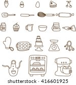 collection of baking items   | Shutterstock .eps vector #416601925