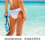 back of young woman in bikini... | Shutterstock . vector #416613541