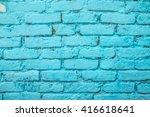 Blue Brick Wall Surface...