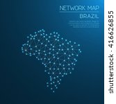 brazil network map. abstract... | Shutterstock .eps vector #416626855
