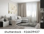 3d rendering of modern living... | Shutterstock . vector #416639437