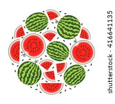 set of fresh ripe watermelon.... | Shutterstock .eps vector #416641135