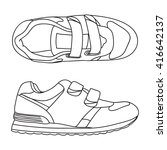 hand drawn sneakers  gym shoes. ... | Shutterstock .eps vector #416642137