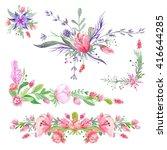 summer romantic watecolor... | Shutterstock . vector #416644285