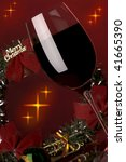 a glass of red wine and... | Shutterstock . vector #41665390