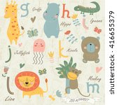 zoo alphabet with cute animals... | Shutterstock .eps vector #416655379
