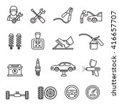 car auto service icons set of... | Shutterstock .eps vector #416657707