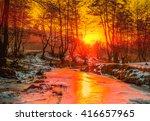 Sunset Over The Frozen Scene  ...