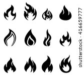 fire icons set simple black and ... | Shutterstock . vector #416659777