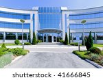 front view of blue glass office ... | Shutterstock . vector #41666845