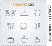 restaurant and cafe icons.... | Shutterstock .eps vector #416678524