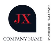 jx letters red   abstract black ... | Shutterstock .eps vector #416679244