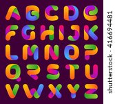 colorful one line letters set.... | Shutterstock .eps vector #416694481