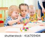 happy kids doing arts and... | Shutterstock . vector #416705404