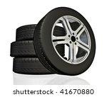 set of car wheels. made in 3d.   Shutterstock . vector #41670880