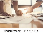 people working with business... | Shutterstock . vector #416714815