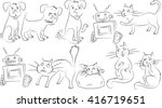 clipart of animals. dogs and... | Shutterstock . vector #416719651