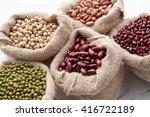 assortment of beans and lentils ... | Shutterstock . vector #416722189