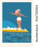 flat illustration with surfer... | Shutterstock .eps vector #416730301