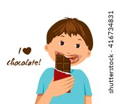 i love chocolate concept kid... | Shutterstock .eps vector #416734831