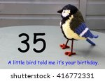 Small photo of thirtyy fifth birthday with a little bird told me.