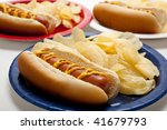 Several Hot Dogs On Colored...