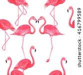 flamingo pink watercolor repeat ... | Shutterstock . vector #416799589
