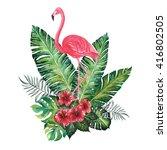 flamingo with tropic bouquet ... | Shutterstock . vector #416802505
