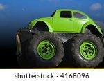 Monster Truck Green On A Dark...