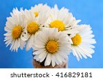 daisies on a blue background.    Shutterstock . vector #416829181