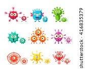bacteria and virus fun...   Shutterstock .eps vector #416835379