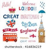 england travel watercolor set | Shutterstock . vector #416836219
