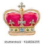 great britain crown. watercolor ... | Shutterstock . vector #416836255