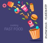 fast food flying in paper... | Shutterstock .eps vector #416836459