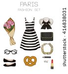 fashion set of woman's clothes... | Shutterstock . vector #416838031